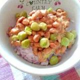 納豆の食べ方-塩えんどう♪