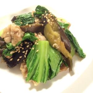 ご飯がすすむ☆肉×茄子×ちんげん菜の辛味噌炒め