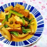 厚揚げとレンコンと小松菜のオイスター炒め++