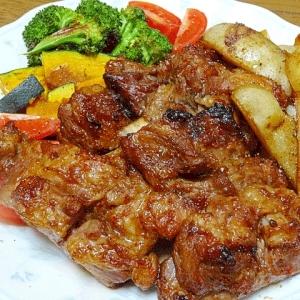 スペアリブと野菜焼き