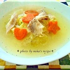 白菜と豚バラのあったか生姜スープ