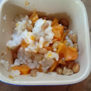 離乳食後期☆豚汁のにんじんと納豆ご飯