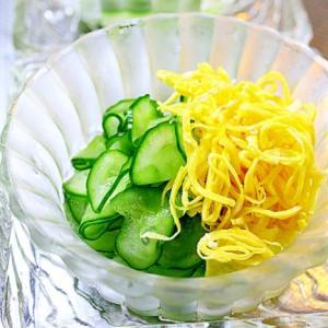 きゅうりと錦糸卵の酢のもの*梅シロップをつかって