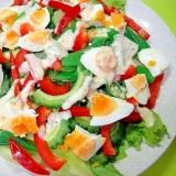 ゴーヤとオクラゆで卵のカラフルサラダ