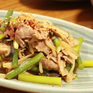 豚バラとにんにくの芽のスタミナ炒め