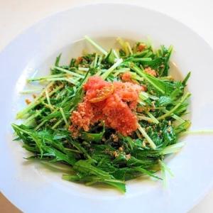 シャキシャキ食感と塩気が絶妙!水菜と明太子のサラダ