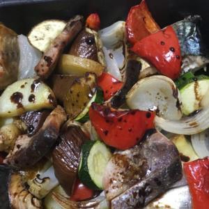 グリル魚と夏野菜のバルサミコ醤油風味