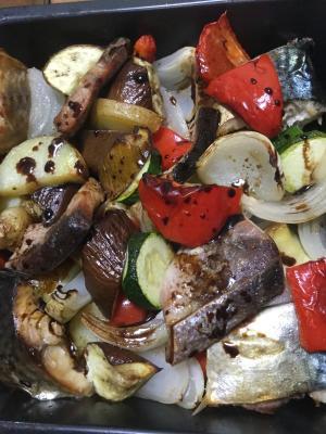 魚と野菜のグリル焼き