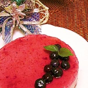 ブルーベリーの豆乳レアチーズケーキ風♪