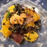 甘夏と鰹のたたき、スプラウトのサラダ