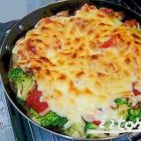 グリルパン♪チキン×野菜トマトチーズ焼き
