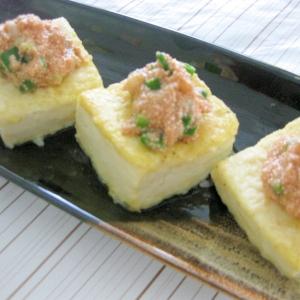 ヘルシー美味い♪明太子ソースのふわっと豆腐ステーキ