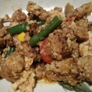 お豆腐とひき肉の味噌炒め