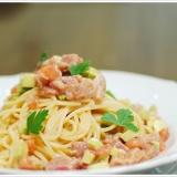 マグロとホタテ、アボカドの冷製スパゲッティ