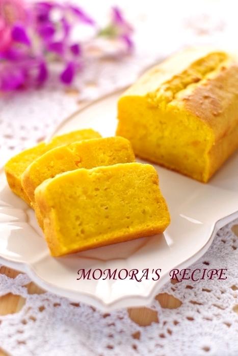 HMで簡単シットリ♡かぼちゃパウンドケーキ卵不使用