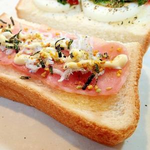 辛子/マヨ/のりたまで ベーコンとしらすのトースト