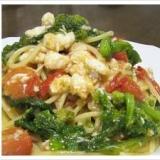 春を先取りする鯛と菜の花のスパゲッティ