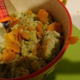 パンとかぼちゃの青汁ミルク粥