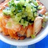 納豆の食べ方-キムチ&野沢菜♪