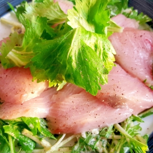 寒ブリと水菜のサラダ仕立て