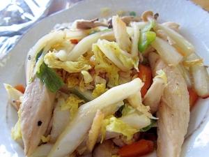白菜葱鶏肉炒め