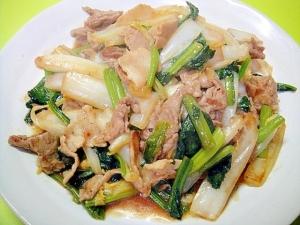 白菜とほうれん草豚肉の焼肉のタレ炒め