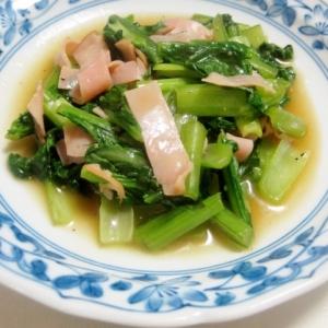 小松菜とハムのオイソ炒め