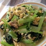 小松菜とあさりの卵とじ