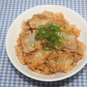 簡単☆干しえのきで豚キムチの炊き込みご飯