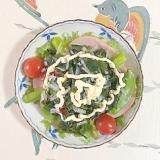 ロースハム、海藻サラダ、アスパラのサラダ