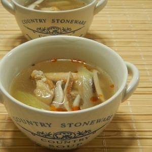手羽中チキンの酸辣湯スープ