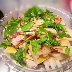 たけのこと鶏肉の中華風ピリ辛サラダ