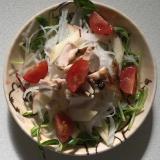 チキン豆苗きゅうり大根トマトサラダ