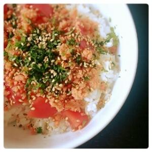 大葉&トマト&鮭 さっぱり丼♪