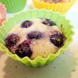ブルーベリーとザラメ糖のもっちりカップケーキ
