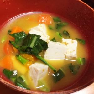 豆腐&ニンジン&カボチャの味噌汁
