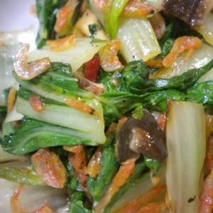 しろなと乾燥海老の炒め物