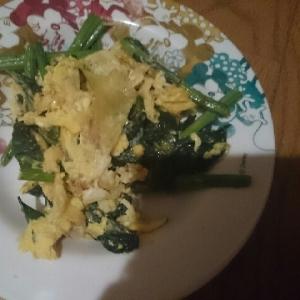 ほうれん草と卵の醤油炒め