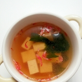 ずぼらレシピ★豆腐とわかめと桜えびの和風スープ