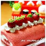 ふわふわイチゴスポンジのロールケーキ