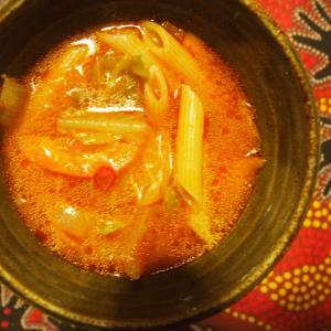 ペンネアラビアータのスープ