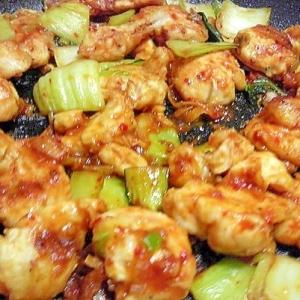 鶏ささみと青梗菜のチリソース炒め