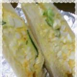 カッテージチーズ代わりの塩豆腐入り卵サンド