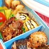幼稚園のお弁当★おにぎりと豚肉の甘辛+卵焼き