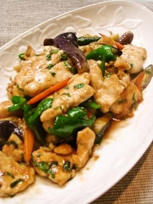 鶏むね肉とナスの至高の大葉醤油炒め