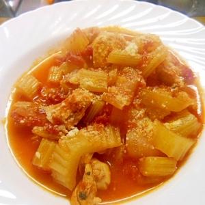 玉ねぎとセロリと鶏肉のトマト煮