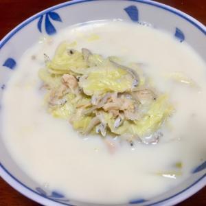 ちりめんじゃことホタテ缶詰の豆乳スープ