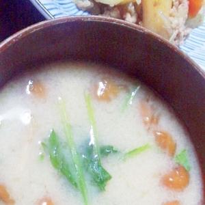 小松菜となめこの味噌汁