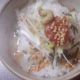 ネギ&梅&白ゴマトッピングのサラサラお茶漬け