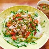 セロリ・きゅうり・豚しゃぶのトマトサルサ サラダ